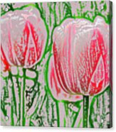 Pink Tulips With Block Effect Acrylic Print