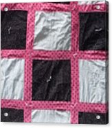 Pink White And Black Dot Quilt Acrylic Print by Brianna Emily Thompson