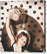 Pinup Dj Rocking Around The Clock  Acrylic Print