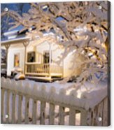 Pioneer Home At Christmas Time Acrylic Print by Utah Images