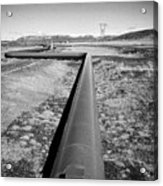 pipeline carrying hot water to reykjavik from Hellisheidi geothermal combined heat and power station Acrylic Print