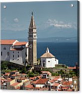Piran Slovenia With St George's Cathedral Belfry And Baptistery  Acrylic Print