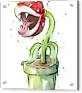 Piranha Plant Watercolor Acrylic Print