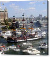Pirate Ship And Flotilla Acrylic Print
