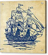 Pirate Ship Artwork - Vintage Acrylic Print by Nikki Marie Smith