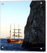 Pirate Ship Sunset Sea Of Cortez Cabo Acrylic Print