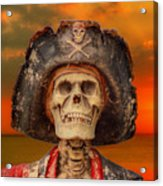Pirate Skeleton Sunset Acrylic Print by Randy Steele