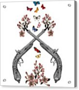 Pistols Wit Flowers And Butterflies Acrylic Print