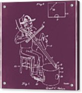 Pitch Fork Fiddle And Drum Patent 1936 - Red Acrylic Print