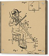 Pitch Fork Fiddle And Drum Patent 1936 - Sepia Acrylic Print