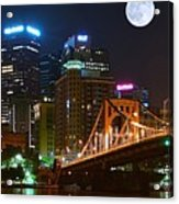 Pittsburgh Full Moon Panoramic Acrylic Print