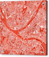 Pittsburgh Map Red Acrylic Print