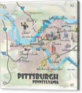 Pittsburgh Pennsylvania Fine Art Print Retro Vintage Map With Touristic Highlights Acrylic Print