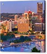 Pittsburgh Pennsylvania Skyline At Dusk Sunset Panorama Acrylic Print