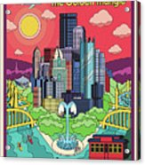 Pittsburgh Poster - Pop Art - Travel Acrylic Print