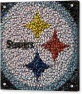 Pittsburgh Steelers  Bottle Cap Mosaic Acrylic Print by Paul Van Scott