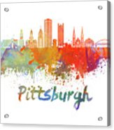 Pittsburgh V2 Skyline In Watercolor Acrylic Print