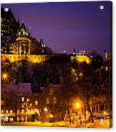 Place-royale At Twilight Quebec City Canada Acrylic Print