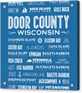 Places Of Door County On Blue Acrylic Print