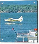 Plane Coming Into Friday Harbor On San Juan Island, Washington Acrylic Print