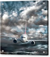 Plane In Storm Acrylic Print by Olivier Le Queinec
