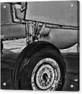 Plane - Landing Gear In Black And White Acrylic Print