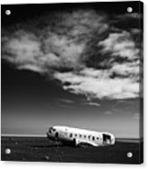 Plane Wreck Black And White Iceland Acrylic Print