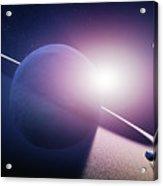 Planet Saturn Sunrise Acrylic Print