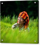 Planting Rice By Hand Acrylic Print