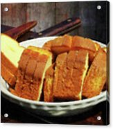 Plate With Sliced Bread And Knives Acrylic Print