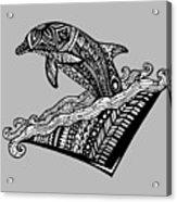 Playful Dolphin Zentangle Acrylic Print