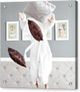 Playful Young Woman Jumping On The Bed , A Pillow Fight Acrylic Print