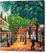 Playing Boules In St Paul De Vence Acrylic Print by Ronald Haber