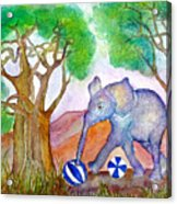 Playing By The Baobab Tree Acrylic Print