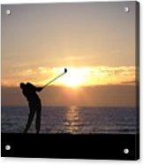Playing Golf At Sunset Acrylic Print