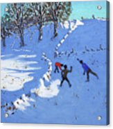 Playing In The Snow Youlgrave, Derbyshire Acrylic Print