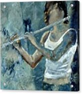 Playing The Flute Acrylic Print