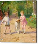 Playing With The Hoop Acrylic Print by Victor Gabriel Gilbert