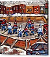 Playoff Time At The Local Hockey Rink Montreal Winter Scenes Paintings Best Canadian Art C Spandau Acrylic Print