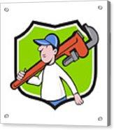 Plumber Holding Monkey Wrench Crest Cartoon Acrylic Print