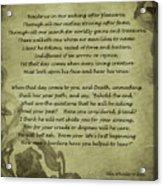 Poem The Question By Ella Wheeler Wilcox Acrylic Print