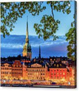 Poetic Stockholm Blue Hour Acrylic Print