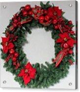 Poinsettia Wreath Acrylic Print