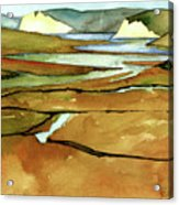 Point Reyes, Ca, Drakes Beach Estuary, Midday Tide, Watercolor Plein Air Acrylic Print