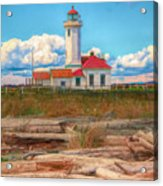 Point Wilson Lighthouse And Driftwood Acrylic Print