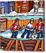 Outdoor Hockey Rink Painting  Devils Vs Rangers Sticks And Jerseys Row House In Winter C Spandau Acrylic Print
