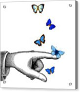 Pointing Finger With Blue Butterflies Acrylic Print