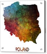 Poland Map Polska Map Acrylic Print