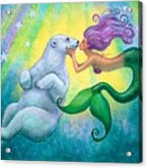 Polar Bear Kiss Acrylic Print