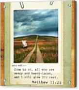 Polaroid On Weathered Wood With Bible Verse Acrylic Print